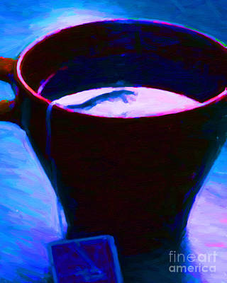 Tea Time Quiet Time - Blue Poster by Wingsdomain Art and Photography
