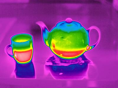 Teapot And Mug, Thermogram Poster by Tony Mcconnell