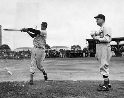 Ted Williams Gets Batting Practice Poster by Everett
