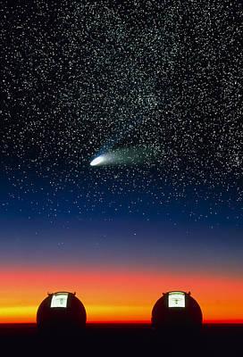 Telescope Domes On Mauna Kea With Hale-bo Poster by David Nunuk