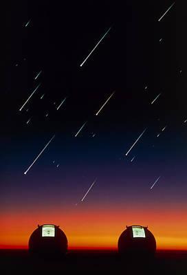 Telescope Domes On Mauna Kea With Meteors Poster by David Nunuk