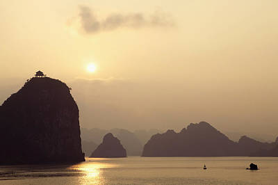 Temple At Sunset In Halong Bay Poster by Skip Nall