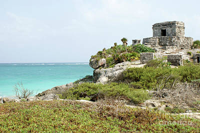 Poster featuring the photograph Temple Of The Wind God Tulum Mexico by John  Mitchell