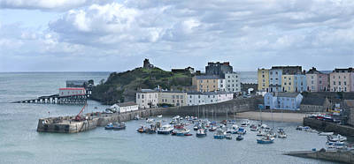 Poster featuring the photograph Tenby Harbour Pembrokeshire Panorama by Steve Purnell