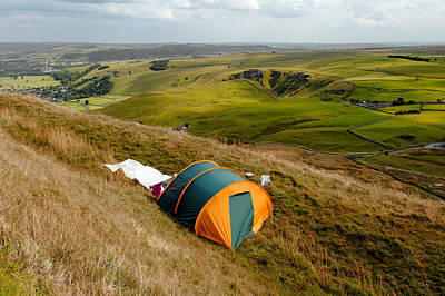 Tent Sited Near Summit Of Mam Tor Poster by Rod Johnson