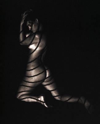 Poster featuring the photograph Terri Kneeling Bw Lines by David Wohlfeil