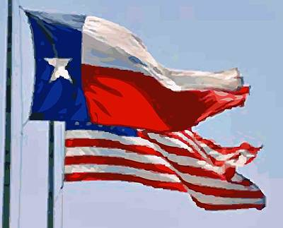 Texas And Usa Flags Flying Color 64 Poster by Scott Kelley