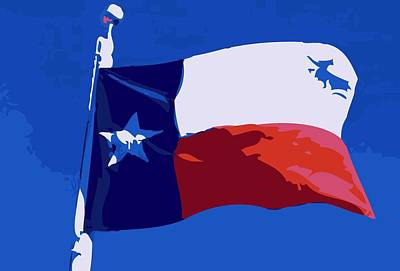 Texas Flag Pole Color 10 Poster