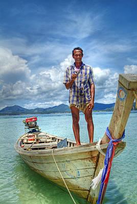 Thai Boat Man-surin Island Poster by Ron Schwager