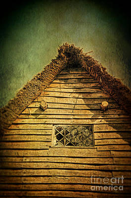 Thatched Cottage And Leaded Window Poster