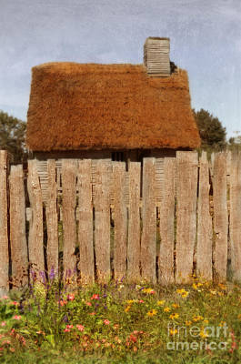 Thatched Cottage Behind Fence Poster