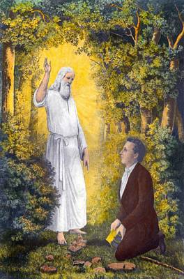 The Angel Moroni Delivering The Plates Poster by Everett