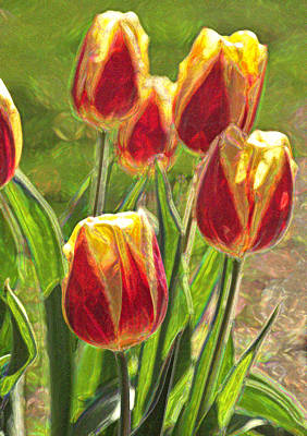 Poster featuring the photograph The Artful Tulips by Nancy De Flon