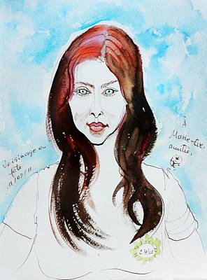 The Auburn Hair Blue Eyes Girl Poster by Ion vincent DAnu