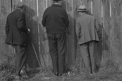 The Backs Of Three Men Watching Poster by Everett