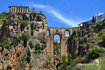 The Bridge In Ronda Spain Poster by Mary Machare