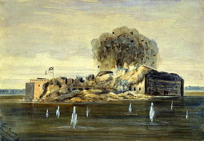 The Civil War, Exterior View Of Fort Poster by Everett
