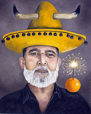 The Competitive Sombrero Couple 2 Poster by Leah Saulnier The Painting Maniac