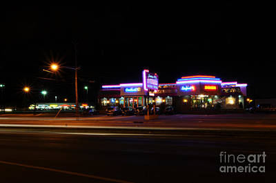 The Diner At Night Poster by Paul Ward