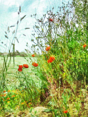 Poster featuring the digital art The Edge Of The Field by Steve Taylor
