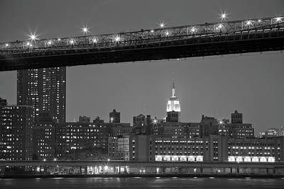 The Empire State Building Between The Brooklyn Bridge And The Fdr Drive Poster by Andria Patino