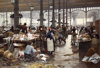 The Fish Hall At The Central Market  Poster by Victor Gabriel Gilbert