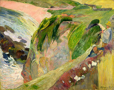 The Flageolet Player On The Cliff Poster by Paul Gauguin