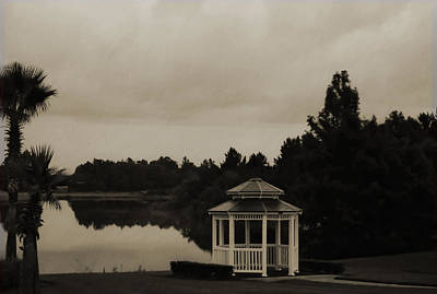 Poster featuring the photograph The Gazebo At The Lake by DigiArt Diaries by Vicky B Fuller