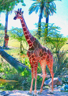 Poster featuring the painting The Gentle Giraffe by Elinor Mavor