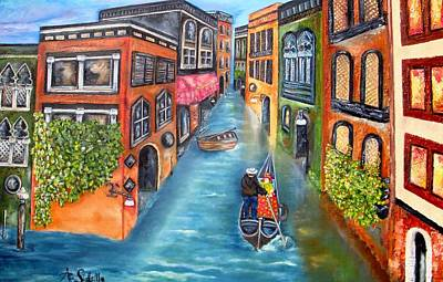 Poster featuring the painting The Gondola Ride by Annamarie Sidella-Felts