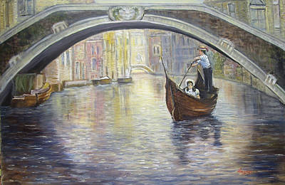The Gondolier Venice Italy Poster by Luczay