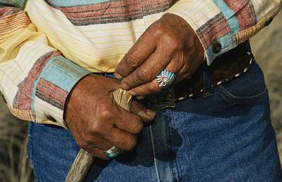The Hands Of A Navajo Elder Wearing Poster by David Edwards