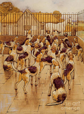 The Hounds Began Suddenly To Howl In Chorus  Poster by Cecil Charles Windsor Aldin