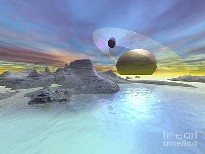 The Landscape On One Of Saturns Moons Poster by Corey Ford