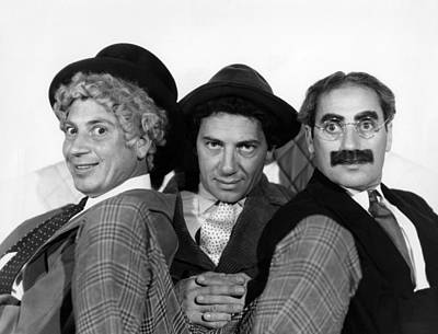 The Marx Brothers From Left Harpo Marx Poster by Everett