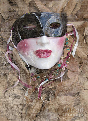 The Mask In The Leaves Poster by Carolyn Fox