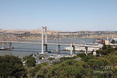 The New Alfred Zampa Memorial Bridge And The Old Carquinez Bridge . 5d16745 Poster by Wingsdomain Art and Photography