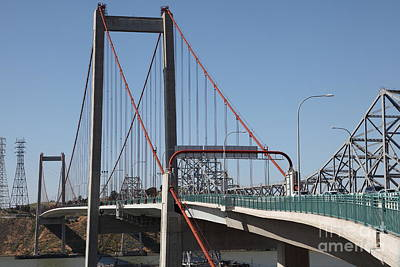 The New Alfred Zampa Memorial Bridge And The Old Carquinez Bridge . 5d16823 Poster by Wingsdomain Art and Photography