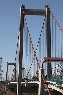 The New Alfred Zampa Memorial Bridge And The Old Carquinez Bridge . 5d16826 Poster by Wingsdomain Art and Photography