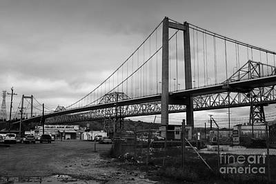 The New Alfred Zampa Memorial Bridge And The Old Carquinez Bridge . Black And White . 7d8828 Poster by Wingsdomain Art and Photography