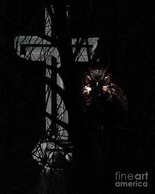 The Owl And The Cross Poster by Wingsdomain Art and Photography