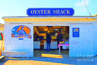 The Oyster Shack At Drakes Bay Oyster Company In Point Reyes . 7d9835 . Painterly Poster by Wingsdomain Art and Photography
