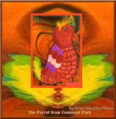Poster featuring the mixed media The Parrot From Conneaut Lake Park by Ray Tapajna