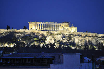 Poster featuring the photograph The Parthenon At Night by MaryJane Armstrong