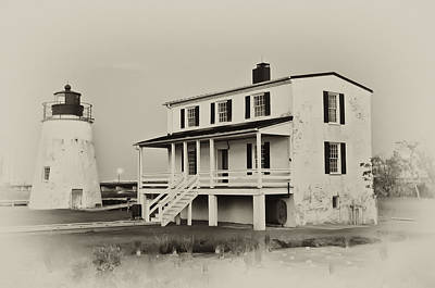 The Piney Point Lighthouse In Sepia Poster by Bill Cannon