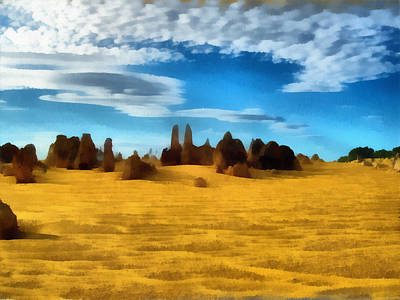 Poster featuring the digital art The Pinnacles Nambung National Park by Roberto Gagliardi