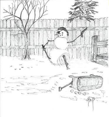 The Pirate In My Backyard - Sketch Poster by Robert Meszaros