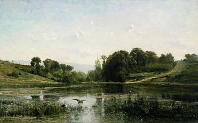 The Pond At Gylieu Poster by Charles Francois Daubigny