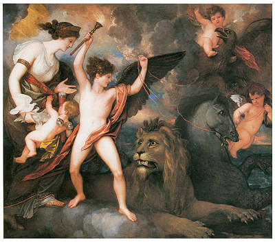 The Power Of Love In The Three Elements Poster by Benjamin West