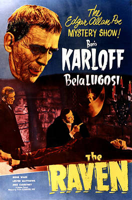 The Raven, Top Left Boris Karloff Poster by Everett